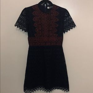 Sandro blue and maroon lace dress